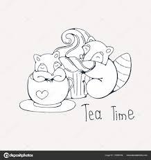 Illustratie Met Schattige Wasbeer In Een Kopje Thee Of Koffie Met