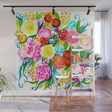 bright colorful fl painting wall mural