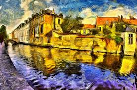 brugge with c and buildings colorful oil painting stock photo 44819407