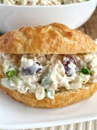 chicken salad sandwich on roll.  Roll Chicken Salad With Sweet Pineapple Red Grapes Green Onions Almonds  Celery All With Salad Sandwich On Roll C