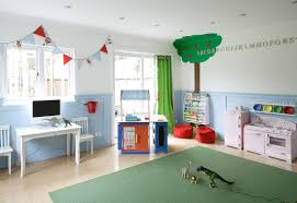 decoration: Awesome Apple Tree Mural Enhacing Boys Playroom Ideas Which Is  Completed With Mini Stove