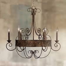 franklin iron works 30 wide rust candelabra chandelier y2301