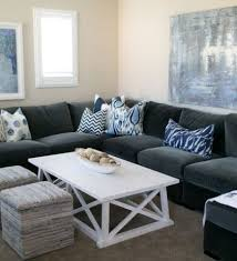Gray Sofa With Chaise Lounge And Yellow Pillows Gray Sofa Pillows