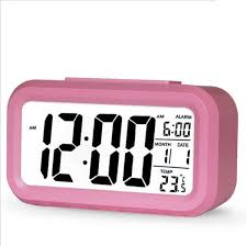 simple classic mute digital alarm clock backlight led time temperature calendar hover to zoom