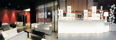 interiors lighting. Bar Lighting And Furniture In A Stylish Black, Red White Design Interiors