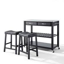 stainless steel top kitchen cart island in black finish with 24 hover to zoom