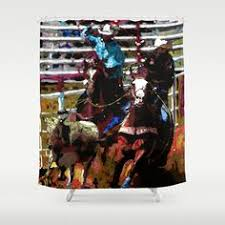 team ropers shower curns western home decor