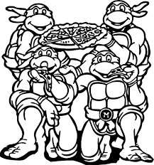 Small Picture Ninja Turtles Michelangelo Ninja Turtle Eat Pizza Coloring Page