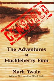 censorship and mark twain s adventures of huckleberry finn book cover censored