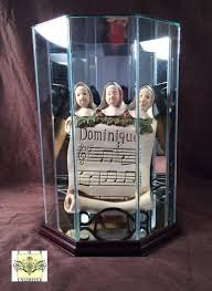 doll case octagon display with wood trim doll and figurine display cases