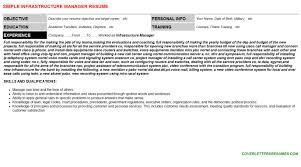 Infrastructure Manager Cover Letter Resume