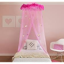Boho and Beach Princess Feather Boa Bed Canopy Mosquito Net for Girls with  Sparkly Hearts,