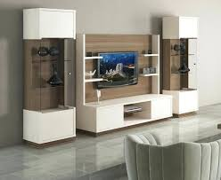 evolution modern wall storage unit in ivory shiny gloss and walnut wood effect finish mounted tv