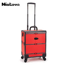 2019 2 wheel professional aluminum rolling makeup case salon cosmetic organizer trolley train case makeup for beauty chains from paradise11