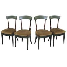 set of four empire painted wood dining chairs upholstered seats nailheads for