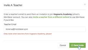 email teacher inviting a teacher from your school knowledge base
