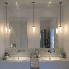 beautiful bathroom lighting. Beautiful Bathroom Hanging Pendant Lighting With Huge Size Mirror Plus Cabinet Vanity Idea And Two