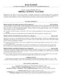 Middle School Teacher Resume Template Sample Resume Cover Letter