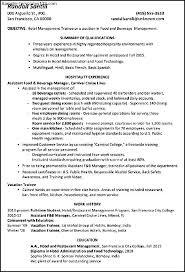 Resume For Hotel Enterprise Management Trainee Resume