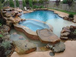 inground pools with waterfalls and hot tubs. Rustic Swimming Pool With Natural Rock Accent, Water Feature, Hot Tub Inground Pools Waterfalls And Tubs L