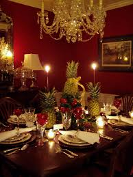 enchanting crystal chandelier over rectangle dining room table centerpieces with fruits centerpieces as well as candle lights as inpiring red dining room