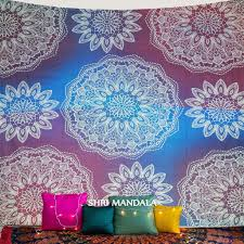 purple sky blue bohemian mandala wall tapestry
