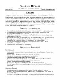 foreman resume - Construction Foreman Resume Examples