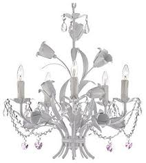 5 light pink heart white wrought iron crystal chandelier country french