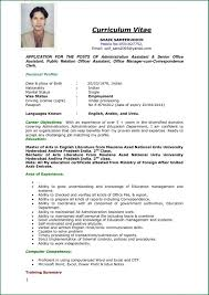 Sample Curriculum Vitae For Job Application Job Application Resume Format Curriculum Vitae Samples Cv Example