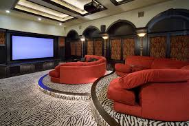 movie couch with cowhide area rugs5 x 8 area rugs home theater traditional  and projector