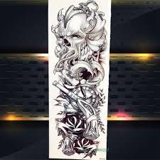 46x17 см мастер черепа с пистолетом пират временные наклейки татуировки всего тела