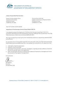 Transmittal Letters Letters Of Transmittal Parliament Of Australia