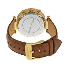 michael kors chronograph gold dial brown leather las watch mk2249