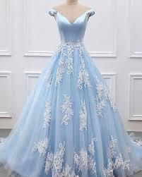 Light Blue Tulle Off The Shoulder Light Blue Tulle Appliqued Evening Gown Pd1615