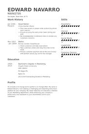 Waiter Resume Delectable Waiter Resume Sample Head Waiter Resume Samples Simple Waiter Resume