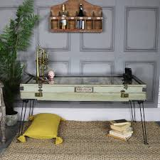 large rustic coffee table with glass