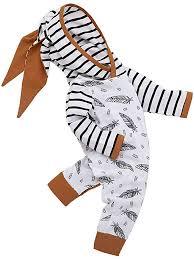<b>Newborn Infant Baby Girl</b> Boy <b>Clothing</b> Sets Hooded <b>Feather</b> Striped ...