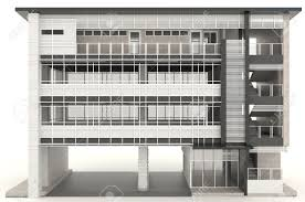 office exterior design. 3D Modern Office Building Architecture Exterior Design In White Background, Create By Stock Photo