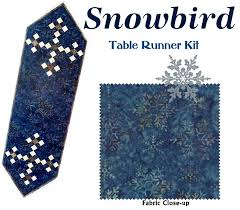 SNOWBIRD TABLE RUNNER QUILT KIT - Moda Snowflake Fabric by Laundry ... & SNOWBIRD TABLE RUNNER QUILT KIT - Moda Snowflake Fabric by Laundry Basket  Quilts Adamdwight.com