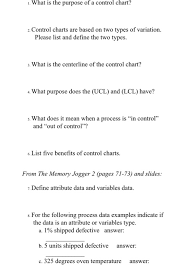 Solved 1 What Is The Purpose Of A Control Chart 2 Cont