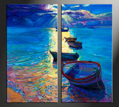 Small Picture 2 Piece Blue Ocean Oil Paintings Photo Canvas