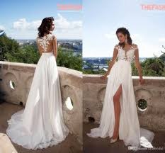 2016 Elegant Summer Beach Wedding Dresses Appliques Thigh High