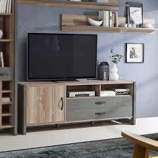 Superb TV Board Note Lowboard Unterschrank Wohnzimmer In Picea Kiefer Und Beton  Grau