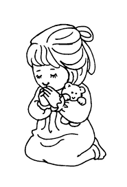 Small Picture Little Girl and Teddy Bear Doing Lords Prayer Coloring Page