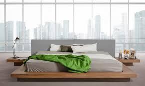 japanese platform bed. VIG Modrest Opal Walnut Grey Japanese Style King Platform Bed W/Nightstands T
