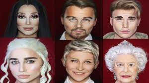 guy transforms himself into any celebrity using makeup