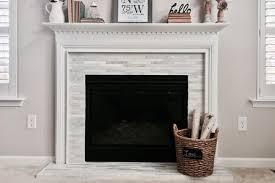narrow thin tile fireplace