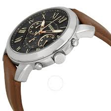 fossil grant chronograph black dial brown leather men s watch fossil grant chronograph black dial brown leather men s watch fs4813