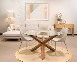 cowell round glass dining table in honey oak colour