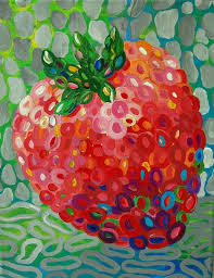 abstract strawberry painting fourth in a series now available in my studio